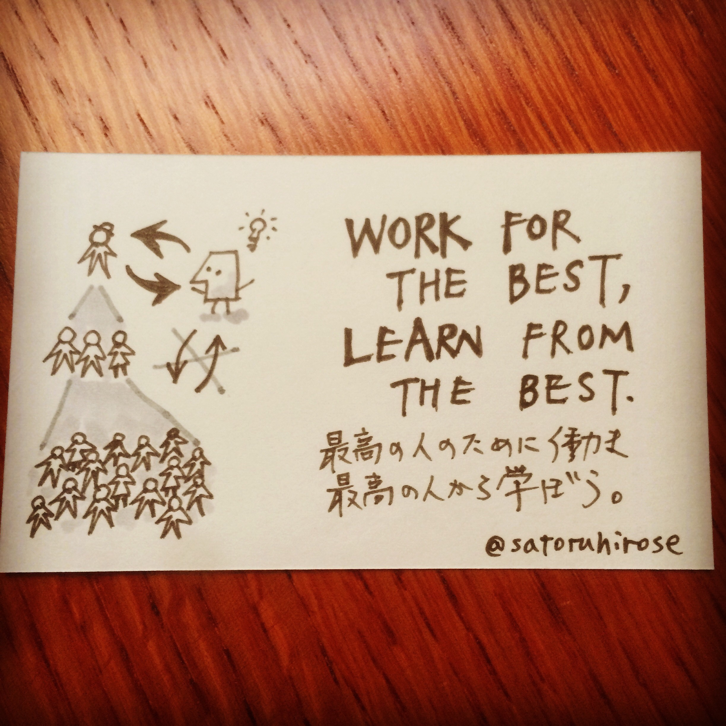 Work for the best, learn from the best.