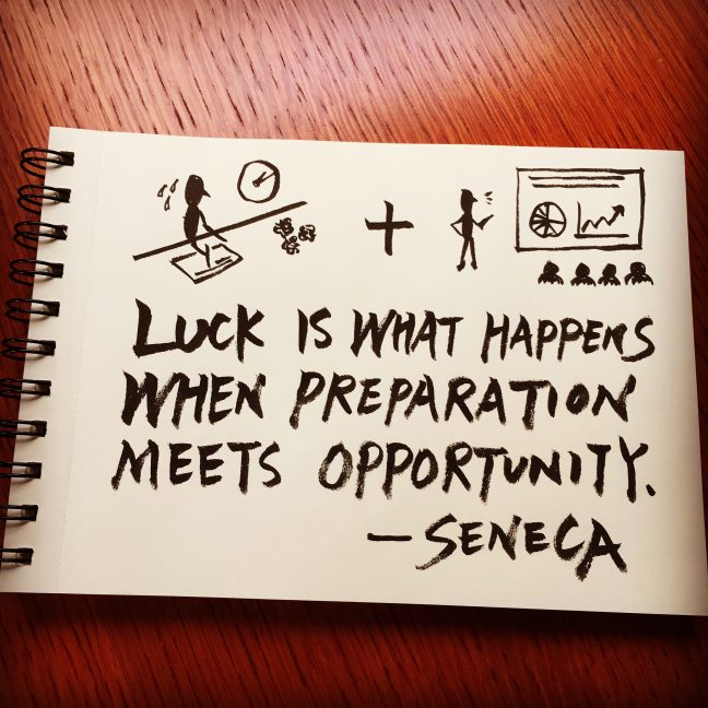 Luck is what happens when preparation meets opportunity. - Seneca