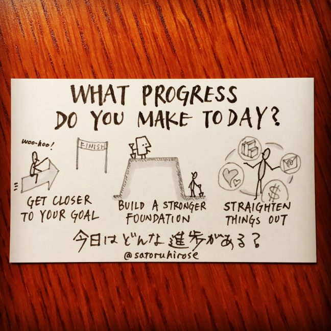 What progress do you make today?
